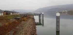 Der neue Anlegeplatz für Binnenschiffe an der Außenmole des Binger Schutzhafens. (Foto: WSA Bingen)