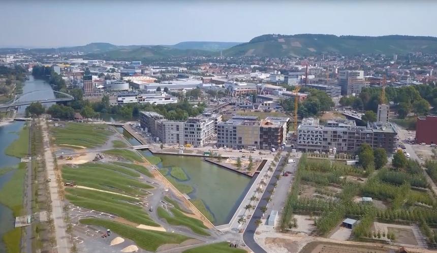 In Heilbronn wird durch die BUGA 2019 ein neues Wohnquartier geschaffen. (Foto: Screenshot Youtube)
