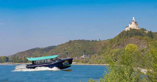 Zukunftsvision Wassertaxi – um den Kommunen eine Bündelung von Angeboten zu ermöglichen, kommt der besseren Verbindung der beiden Rheinufer eine große Bedeutung zu. (Foto: fotografci/Fotolia (Montage)