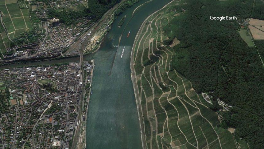 Das Rheintal bei Rüdesheim. (Foto: Google Earth)