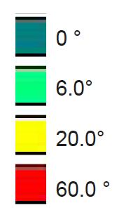 Einfärbung des Geländes im Verlauf mit den Schlüs-selindikatoren 6°/ 20° / 60 ° Gefälleneigung. Bis 6 ° Gefälle ist grundsätzlich eine barrierefrei Erschließung möglich. Bis 20 ° eine noch sinnvolle Erschließung für den geübten Wanderer und ab 60 ° ist eine Erschlie-ßung nicht mehr zu empfehlen.