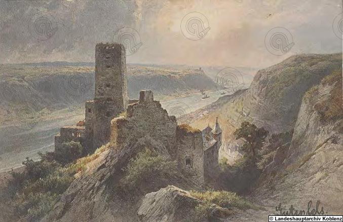 Burg Gutenfels um 1912, Landeshauptarchiv Koblenz.