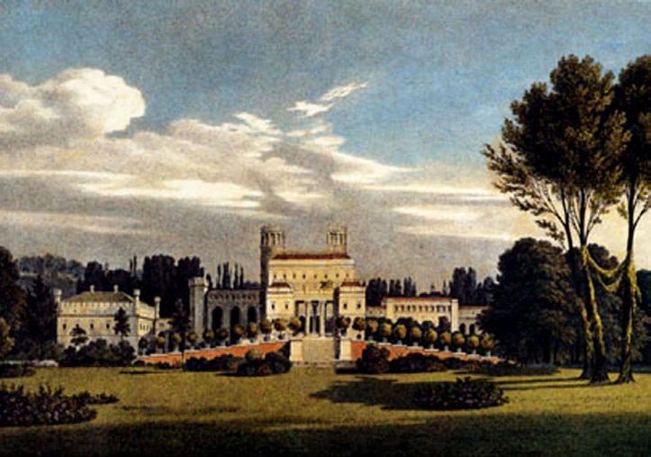 """Illustrationstafel XV in """"Andeutungen über Landschaftsgärtne-rei"""", Schloss und Rampe vom Bowling Green gesehen, Fürst Hermann von Pückler-Muskau, 1834"""