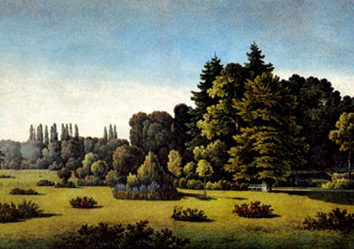 """Illustrationstafel XVI in """"Andeutungen über Landschafts-gärtnerei"""": Aussicht vom Herrengarten, Fürst Hermann von Pückler-Muskau, 1834"""