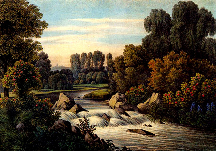 """Illustrationstafel VII in """"Andeutungen über Landschaftsgärtnerei"""" Gestaltung von Wehren, Fürst Hermann von Pückler-Muskau, 1834"""
